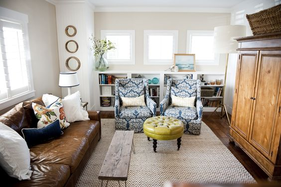 LR with leather couch that doesn't look to heavy or masculine. 6th Street Design School   Kirsten Krason Interiors
