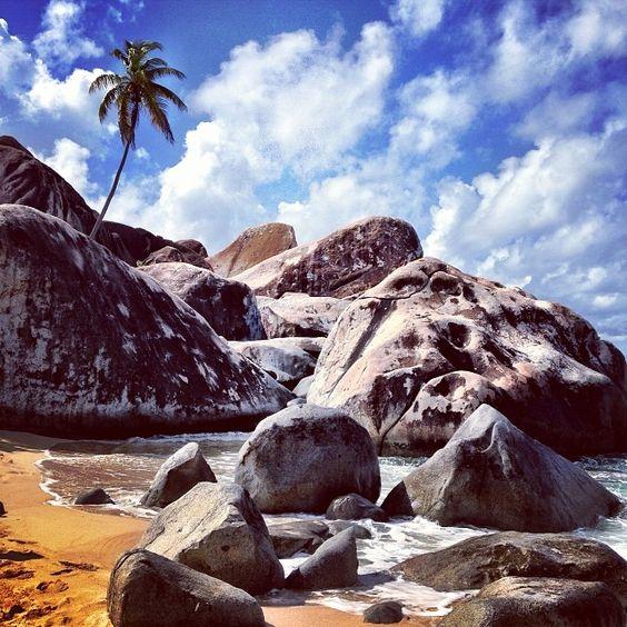 Swim between boulders at Virgin Gorda.