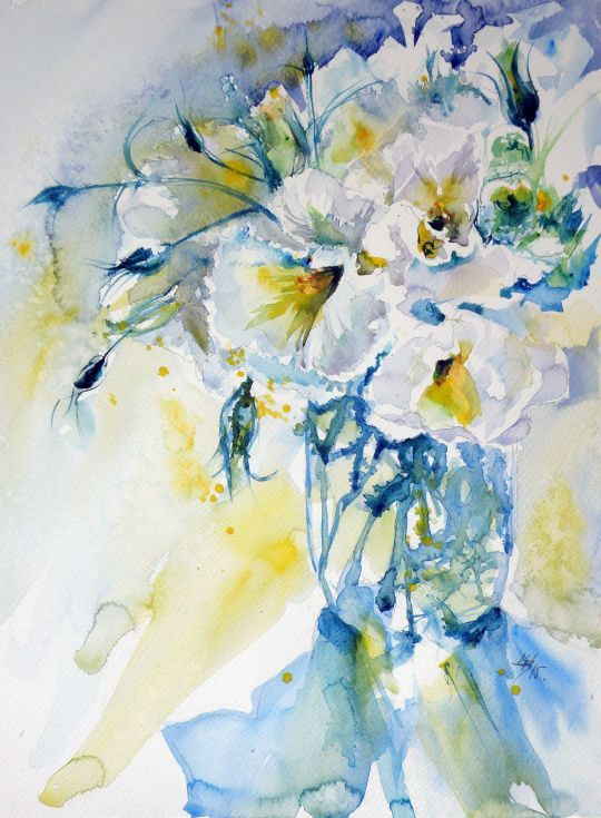 ARTFINDER: Still life with white flowers IV by Kovács Anna Brigitta - Original watercolour painting on high quality watercolour paper. I love landscapes, still life, nature and wildlife, lights and shadows, colorful sight. Thes...