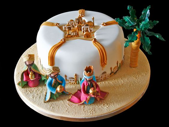 Three kings cake. A trinket is hidden inside. It may be a porcelain figure, an almond, or something else. Whoever finds it is king or queen for the day.