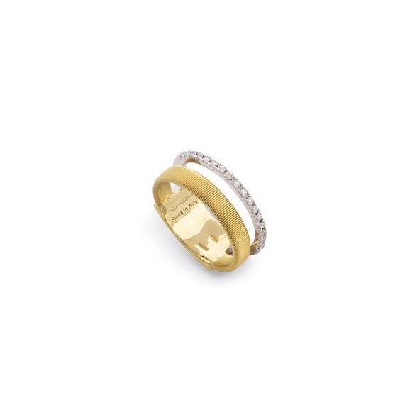 Goa Two Row Pave Diamond Ring In Yellow & White Gold
