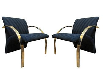 SOLD:   RARE Pair Brass Lounge Chairs by Directional