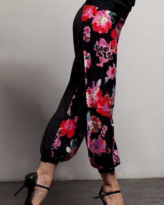 "Argentine Tango Babucha Pants with side slits - ""Flowers"":"