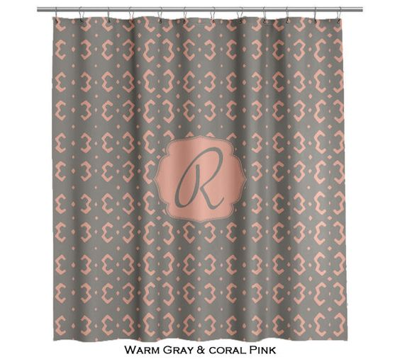 Custom Tribal Shower Curtain Gray and Coral Pink - Several Colors ...