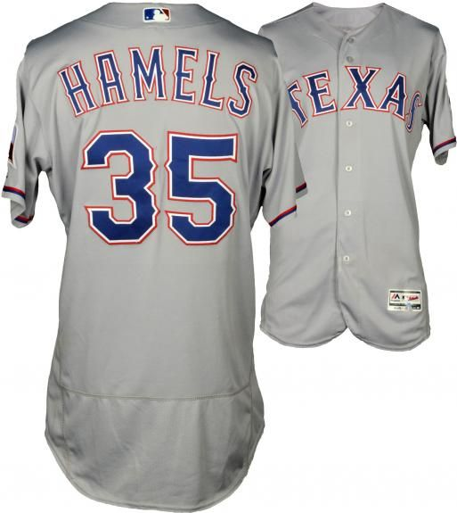 promo code adc16 6a189 Cole Hamels Texas Rangers Game-Used Grey #35 Jersey vs New ...