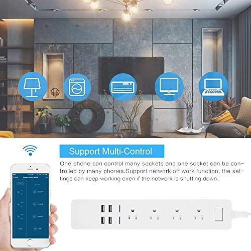Smart Power Strip Wifi Aofo Multiple Outlet Surge Protector 4