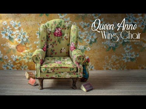 DOLL HOUSE  MINIATURE LOVELY QUEEN ANN SOFA AND WING CHAIR BEIGE