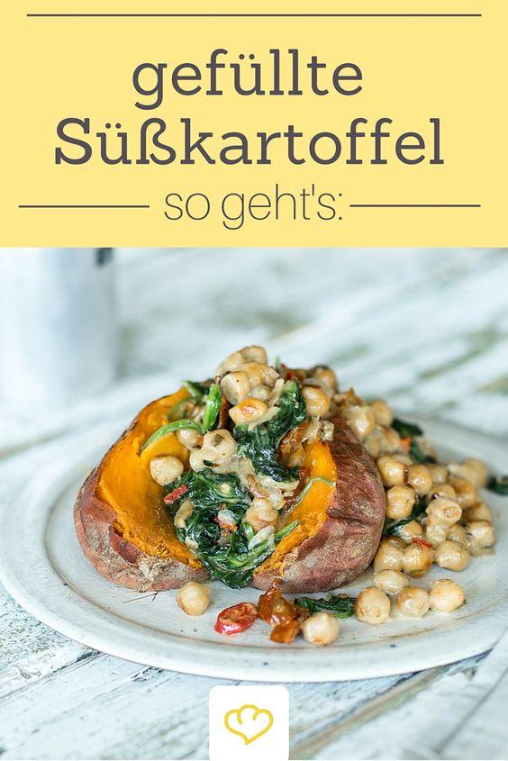 Butterweiche Süßkartoffel exotisch gefüllt mit Kichererbsen und Spinat