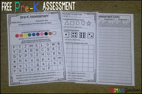 Pre-K Assessment Forms Curriculums, Cosas para hacer y Ejercicios - free assessment forms