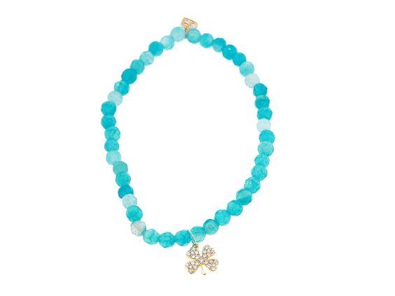 Diamond Four Leaf Clover on Blue Agate
