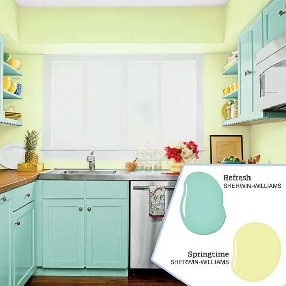 Five no fail palettes for colorful kitchens kitchen Blue kitchen paint color ideas
