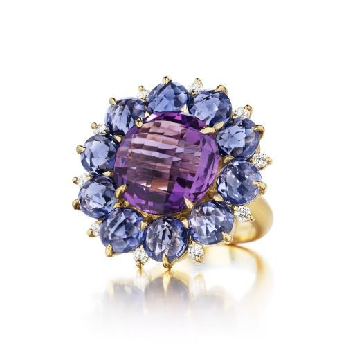 Amethyst Cluster Flower Ring by Carelle. Vibrant-hued stones intermixed in a playful array of shapes and sizes inspire a look that is equal parts savvy and sophisticated. $6,930.00