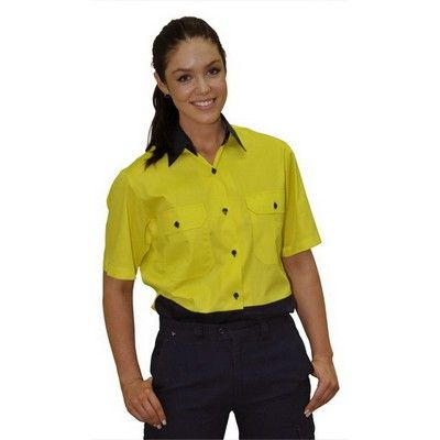 Ladies Safety Short Sleeve Shirt Min 25 - Clothing - Branded Safety Hi Vis Wear - WS-SW631 - Best Value Promotional items including Promotional Merchandise, Printed T shirts, Promotional Mugs, Promotional Clothing and Corporate Gifts from PROMOSXCHAGE - Melbourne, Sydney, Brisbane - Call 1800 PROMOS (776 667)
