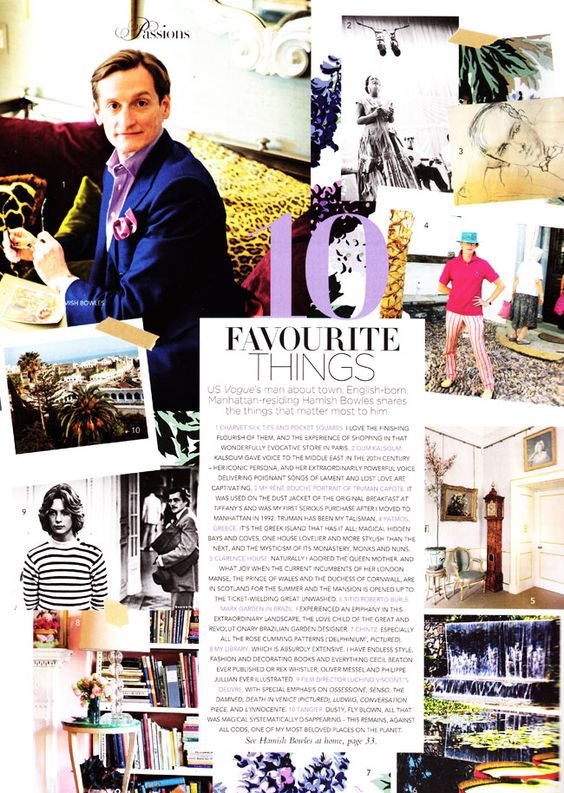 Hamish Bowles' 10 Favorite Things / Vogue Australia