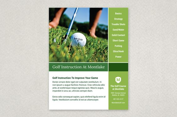 Golf instruction grid flyer template this flyer with its for Instruction leaflet template