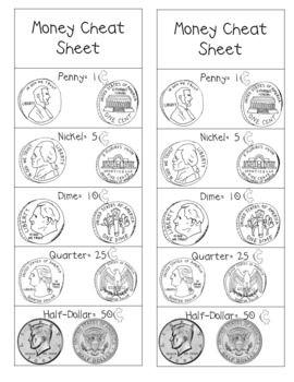 I designed this Money Cheat Sheet as a bookmark for my student's ...
