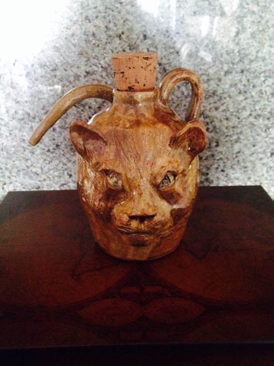 Cat Face Jug by Huey & Anne Wheller Hand Made Pottery