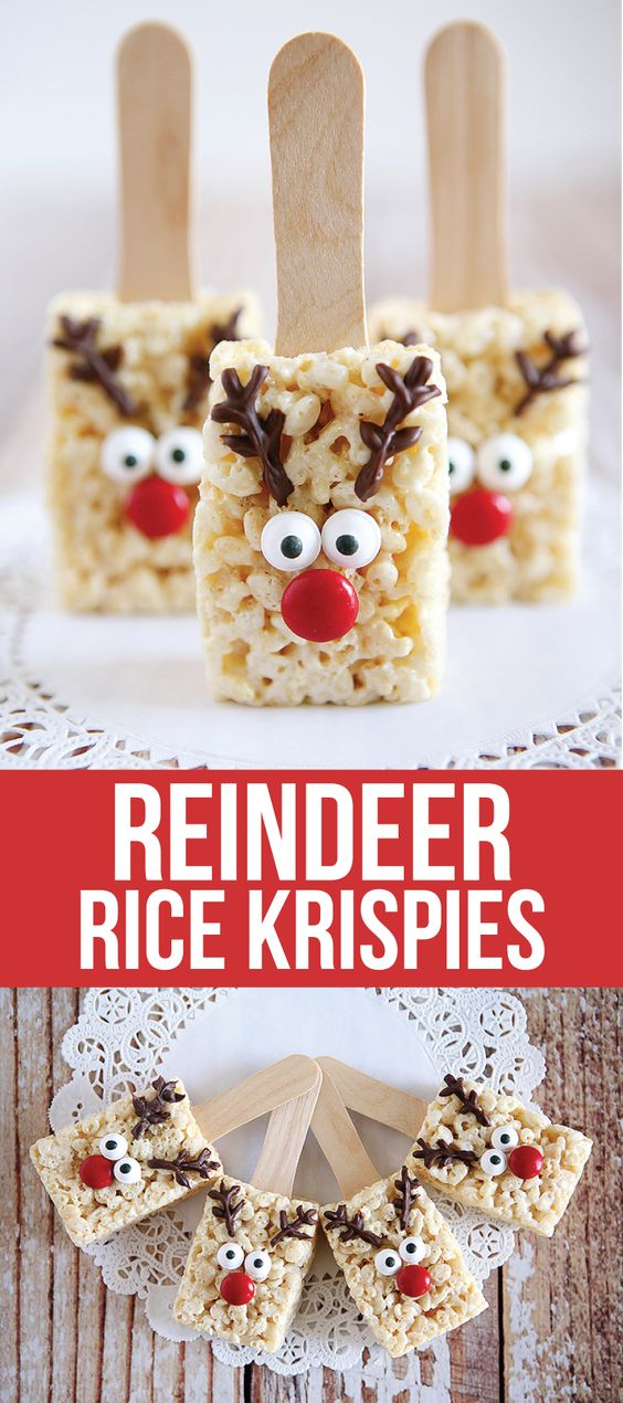 Reindeer Rice Krispies - the cutest treat you will see all Christmas season. Make this recipe and deliver them to family and friends!: