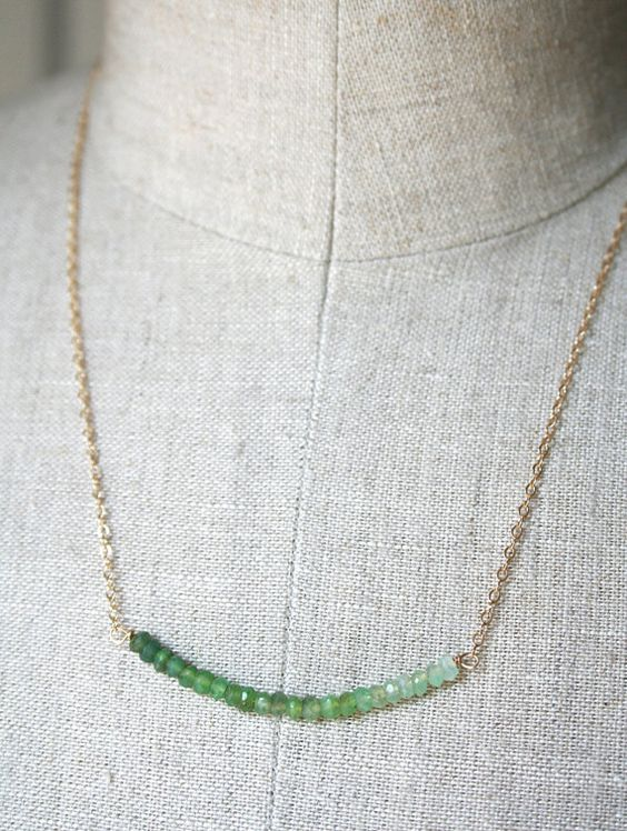 Ombre Jewelry Green Necklace Delicate Necklace by laurastark