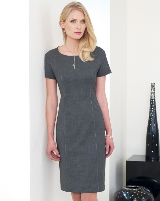 Women&39s Shift Dress Short Sleeve Grey  AVANA-WOMAN: JACKETS ...