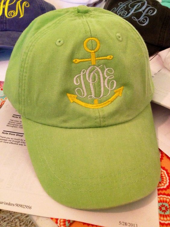 Ladies Monogrammed anchor baseball cap. by ItzyTripzyBaby on Etsy, $18.50