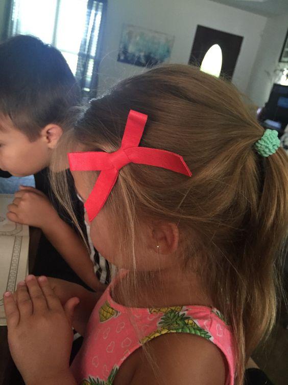 School Girl Bow, baby nylon headband,red leather bow,girl barrettes,school bow…