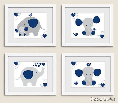 Navy Blue Elephant Nursery Wall Art Prints Baby Boy Room Decor Safari Animals