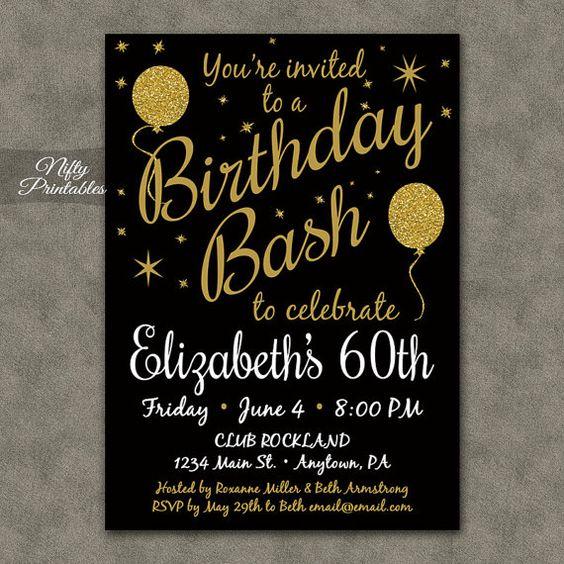 60th birthday invitations printable 60 black gold for Free printable 60th wedding anniversary invitations