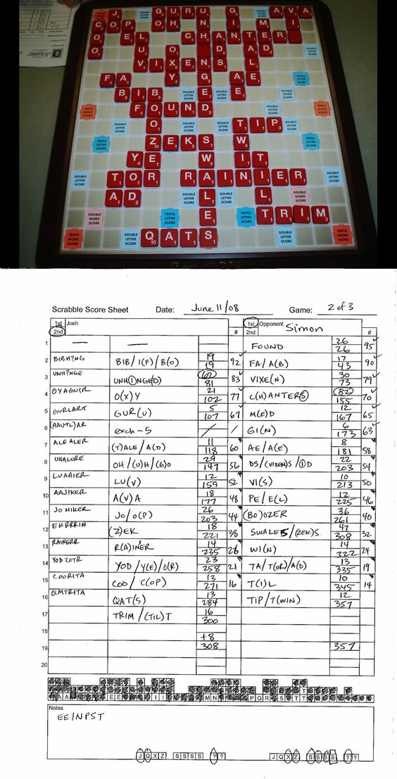 Game 002 #Simon 308-357 LOSS 06-11-08 #Scrabble Joshu0027s - scrabble score sheet