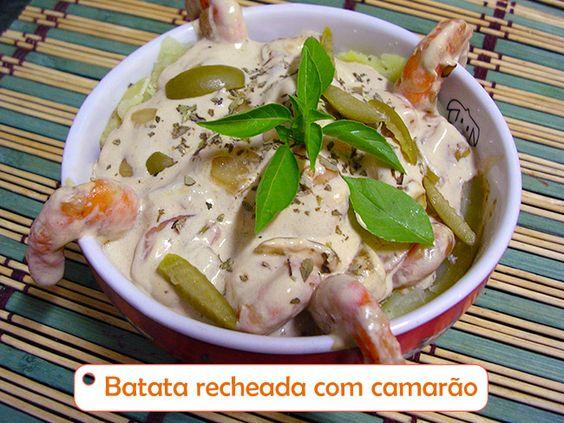 Batata recheada com camarão ----@---- Potato stuffed with shrimp