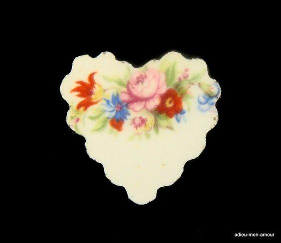 Vintage Broschen - Shabby Porzellan Herz Country CharmBrosche - ein…