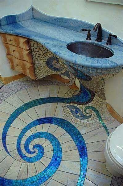 Gorgeous bathroom! Blue. Tile.