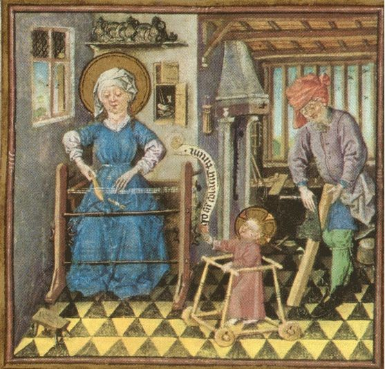 Jesus in a baby walker from the Hours of Catherine of Cleves - Arte mariano - Wikipedia, la enciclopedia libre