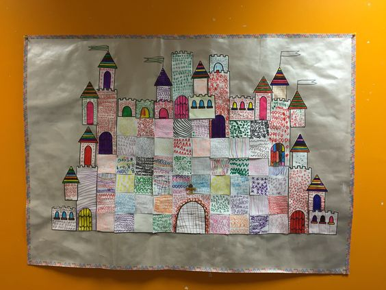 Château collectif en carrés de graphismes - La classe de Teet et Marlou