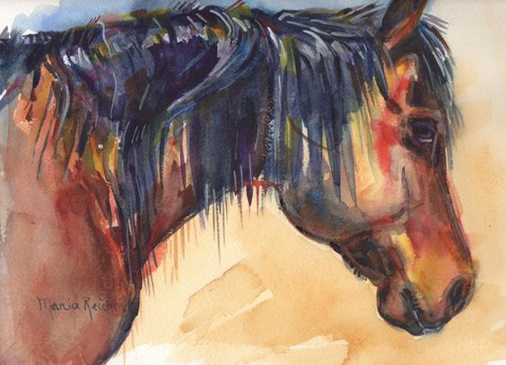 Brown Horse Painting in Watercolor by mariaswatercolor on Etsy