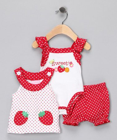 Pink Strawberry Bloomers Set by Duck Duck Goose on #zulily