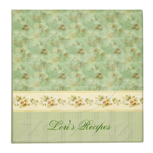 Green Floral recipe binder or whatever you would like to use it for. You can personalize it by adding your own text.