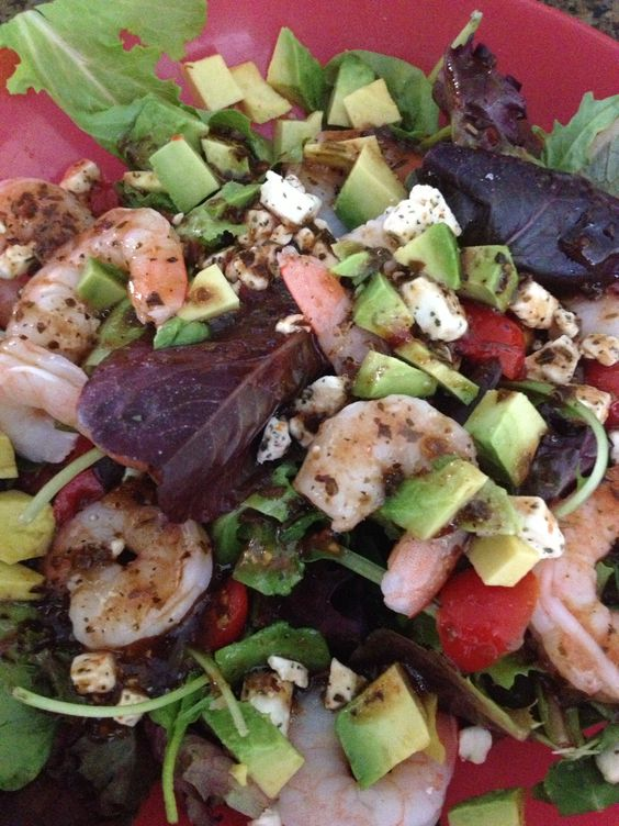 Shrimp, avocado, feta, tomatoes with balsamic dressing