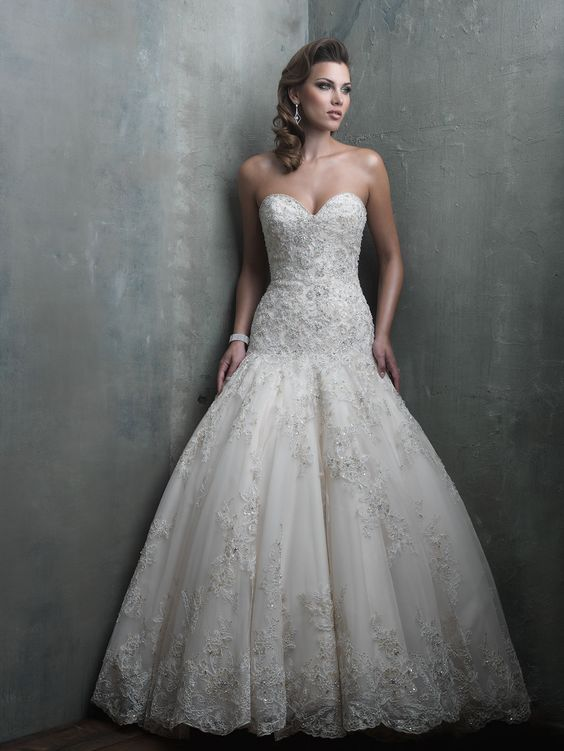 Allure couture ball gown and fit and flare on pinterest for Fitted ball gown wedding dress