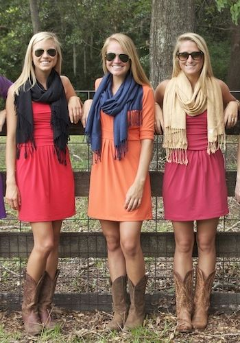 Honestly I don't like when friends/sisters are matching identically, but the idea of scarves and cowboy boots is cute. Maybe a different style of dress for each one would be better.