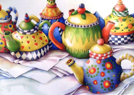 Teapots, thanks to my Mary Englebreit Xmas ornaments for posing! - Judy Grupp original