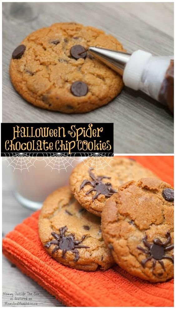 Halloween Cookies - Spider Infested Chocolate Chip Cookies: