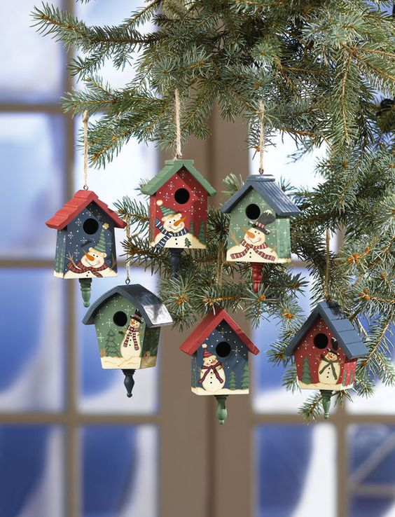Image 1 of Country Birdhouses W/ Snowmen Christmas Ornaments