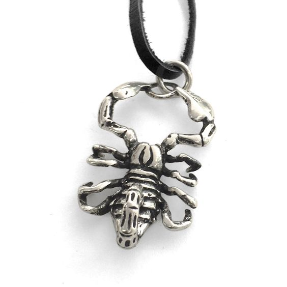 """""""Silver Scorpion Pendent & Leather Men's Necklace $180.00 $90.00"""""""