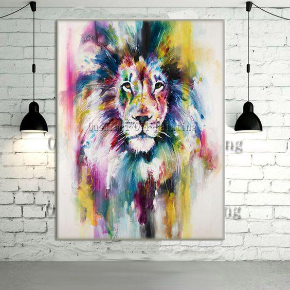 Pas cher new peint la main moderne couleur lion animaux image de peinture l 39 huile sur mur de for Peinture couleur mur pas cher