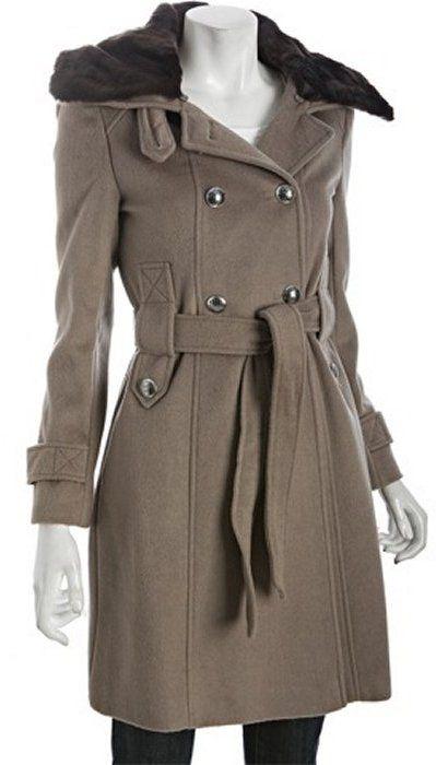 Tahari mink wool blend, double breasted belted 'Phoebe' coat
