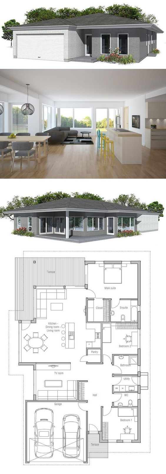 Modern House Plan with covered terrace. Garage for two cars, united dining & living area, three bedrooms.