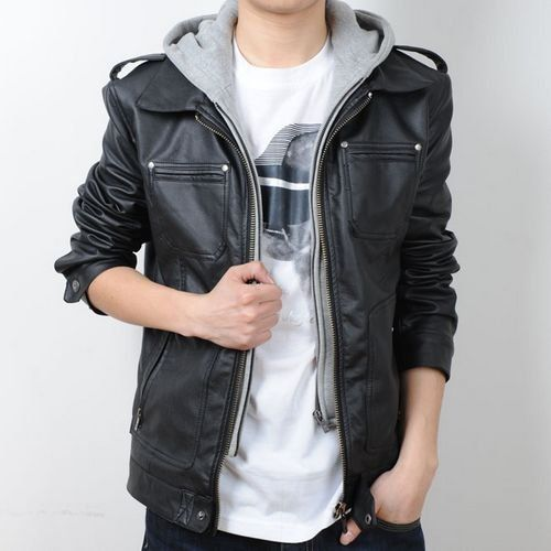 New Men's Slim PU hoody leather jacket coat removable-Hooded ...