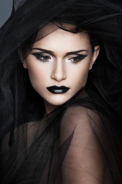 Gorgeous beautiful black lips black eyeshadow