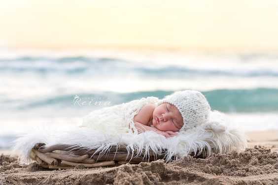 South FL newborn beach photo session with Captured by Riena